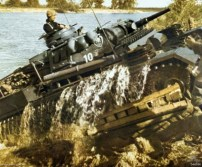 Panzerbefehlswagen (Command Tank) III Ausf H(U) Tauchfahrig (Submersible Motor Vehicle), also known as Tauchpanzer or U-Panzer (Submersible Diving Tank, Underwater Tank), negotiating a river crossing in central Europe during World War II.