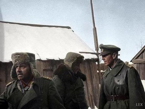 Captured at Stalingrad, from left to right: Generalleutnant Arthur Schmidt, Oberst Wilhelm Adam and Generalfeldmarschall Friedrich Paulus.