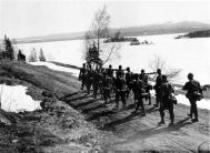 "In Northern Norway, the Norwegian 6th division, commanded by General Carl Gustav Fleischer; faced the German invasion forces at Narvik. Following the German invasion, General Fleischer assumed the position of commander-in-chief of all Norwegian forces in Northern Norway. The Norwegian counter-offensive against the Germans at Narvik was hampered by Fleischer's decision to retain significant forces in Eastern Finnmark to guard against a possible Soviet attack in the far north. Along with the Allied landings at Åndalsnes and Namsos, aimed against Trondheim, further forces were deployed to the north of Norway and assigned the task of recapturing Narvik. Like the campaign in the south, the Narvik expedition faced numerous obstacles. One of the first problems faced by the Allies was that the command was not unified, or even truly organized. The naval forces in the area were led by Admiral of the Fleet William Boyle, 12th Earl of Cork who had been ordered to rid the area of the Germans as soon as possible. In contrast, the commander of the ground forces, Major-General Pierse Mackesy, was ordered not to land his forces in any area strongly held by the Germans and to avoid damaging populated areas. The two met on 15 April to determine the best course of action. Lord Cork argued for an immediate assault on Narvik and Mackesy countered that such a move would lead to the decimation of his attacking troops. Cork eventually conceded to Mackesy's viewpoint. Mackesy's force was originally codenamed Avonforce, later Rupertforce. The force consisted of the 24th Guards Brigade, led by Brigadier William Fraser, and French and Polish units led by Brigadier Antoine Béthouart. The main force began landing at Harstad, a port town on the island of Hinnøya, on 14 April. The first German air attacks on Harstad began on 16 April, but anti-aircraft defences prevented serious damage until a raid on 20 May destroyed oil tanks and civilian houses and another raid on 23 May hit Allied shipping in the harbour. On 15 April, the Allies scored a significant victory when the Royal Navy destroyers Brazen and Fearless, which were escorting the troop-carrying Convoy NP1, forced the German U-boat U-49 to surface and scuttle in the Vågsfjorden. Found floating around the sinking U-boat were documents detailing the dispositions, codes and operational orders of all U-boats in the Norwegian operational area, providing the Allies with an efficient and valuable tool when planning troop and supply convoys to the campaign in Northern Norway. After the Allied failure in Central Norway, more preparation was given to the northern forces. Air cover was provided by two squadrons of carrier-transported fighters operating from Bardufoss Air Station, the re-equipped No. 263 Squadron RAF with Gloster Gladiators and No. 46 Squadron RAF with Hawker Hurricanes. As part of the Allied counter-offensive in Northern Norway, French forces made an amphibious landing at Bjerkvik on 13 May. The naval gunfire from supporting Allied warships destroyed most of the village and killed 14 civilians before the Germans were dislodged from Bjerkvik. While the Norwegian and Allied forces were advancing at Narvik, German forces were moving swiftly northwards through Nordland to relieve Dietl's besieged troops. The captured Værnes Air Station near Trondheim was rapidly expanded and improved to provide the Luftwaffe with a base from which to support the Narvik sector. As the German forces moved northwards, they also gained control of the basic facilities at Hattfjelldal Airfield in Hattfjelldal to support their bomber operations. In late April, ten Independent Companies had been formed in Britain, commanded by Lieutenant Colonel Colin Gubbins. On 2 May, four of these companies were formed into ""Scissorsforce"", under Gubbins, and dispatched to forestall the Germans at Bodø, Mo i Rana and Mosjøen. Although they ambushed the leading German units south of Mosjøen they were outmatched by the German main body and were withdrawn to Bodø, which was to be defended by the 24th Guards Brigade."