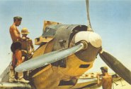 Bf 109E of JG27 Amourers reloading Gazala, North Africa 1941.