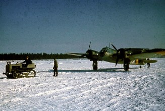 A Finnish Air Force Bristol Blenheim bomber of Nr.17 Squadron on snowy airfield in Luonetjärvi, Finland, 31 March 1944.