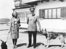 Eva Braun and Hitler with Blondie at the Berghof.