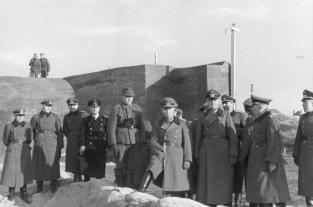 Field Marshal Erwin Rommel visiting the Atlantic Wall defences near the Belgian port of Ostend, part of the fortifications which today comprise the Atlantic Wall Open Air Museum at Raversijde.