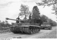 Tiger I tanks of the I SS Panzer Corps Leibstandarte SS Adolf Hitler close to Villers-Bocage. June 1944.
