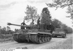 Tiger I tanks of the I SS Panzer Corps Leibstandarte SS Adolf Hitler close to Villers-Bocage. June 1944.