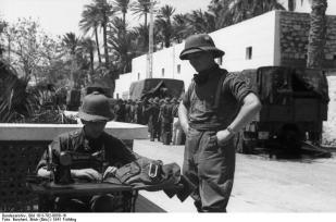 Uniform repair in the Afrika Korps.