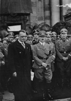 Seyss-Inquart and Hitler with Himmler and Heydrich to the right in Vienna, March 1938.