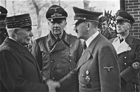 Pétain meeting Hitler in October 1940.