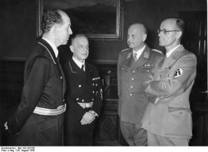 A meeting of the four Nazis who imposed Nazi ideology on the legal system of Germany. From left to right: Roland Freisler, Franz Schlegelberger, Otto Georg Thierack and Curt Rothenberger.