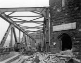American forces cross the Ludendorff Bridge at Remagen on 8 March 1945.