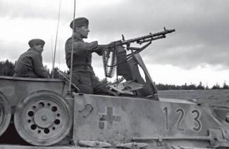 Column of StuGs from 7.SS-Freiwilligen Gebirgs Division Prinz Eugen, Yugoslavia, September 1944.