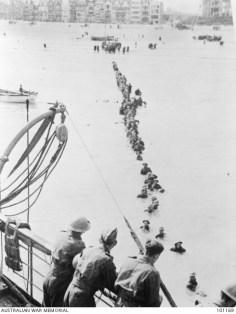 British troops evacuating Dunkirk's beaches.