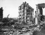 Ruined buildings at Whitechapel, London, left by the penultimate V2 to strike the city on 27 March 1945; the rocket killed 134 people. The final V2 to fall on London killed one person at Orpington later the same day.