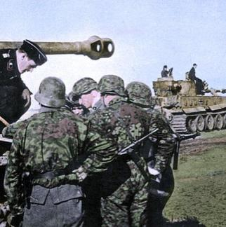 SS Grenadiers discussing tactics with Panzer commanders with their Tigers.