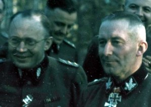 "Officers of SS-Gebirgs-Division ""Nord"" with Finnish officers in Finland. From left to right: SS-Standartenführer Dr.-Med. Wilhelm Fehrensen (Divisionsarzt SS-Gebirgs-Division ""Nord"") and SS-Gruppenführer und Generalleutnant der Waffen-SS Matthias Kleinheisterkamp (Kommandeur SS-Gebirgs-Division ""Nord""). The picture was taken in the summer of 1943."