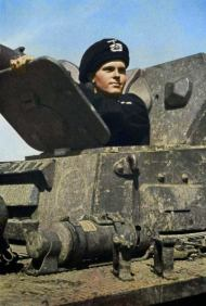 Early war photo of German Panzerkampfwagen IV Ausf.C or D (Sd.Kfz. 161) driver wearing the beret-type Schutzmütze (protective cap).