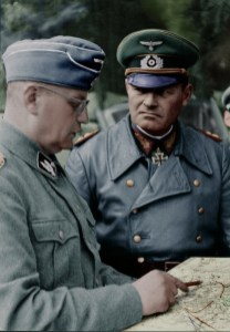 SS-Brigadeführer Walter Krüger (last rank SS-Obergruppenführer) with Generaloberst Erich Hoepner (commander of Panzergruppe 4) at Operation Barbarossa.