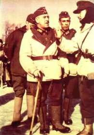 Generalleutnant Emilio Esteban-Infantes from Division Azul and his soldiers.
