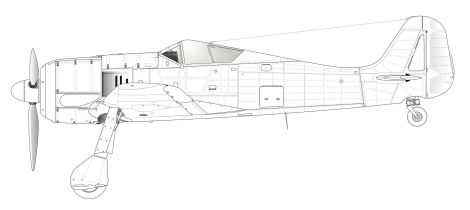 Side-view of Fw 190 A-2; the most notable change over the A-0 was the addition of three vertical cooling slits on the engine cowling, just forward of the wing.