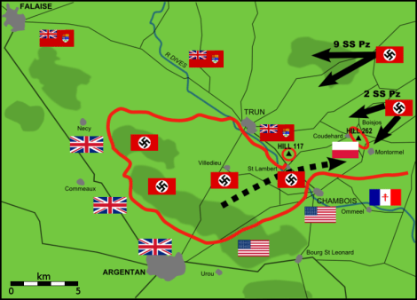 German counterattacks against Canadian-Polish positions on 20 August 1944.