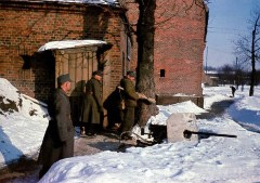 Volkssturm men in Königsberg (East Prussia) with Panzerfaust and a MG 151/20 gun (Aircraft MG modified for ground use), winter of 1945. The Volkssturm used anything they could beg or borrow. Their supply situation was hopeless.