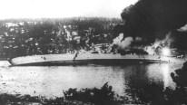 The German cruiser Blücher sinking in the Oslofjord.