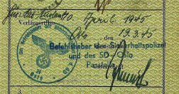 German passport extended by the SD in Norway, March 1945.