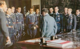 Award ceremony for Luftwaffe officers and NCOs at Berghof Obersalzberg. Erich Hartmann is blocked by the Führer's face.