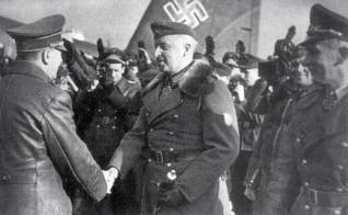 On February 17, 1943, under heavy security, Hitler flew in to Army Group South's headquarters at Zaporozh'ye, Ukraine; just 30 miles away from the front-line. Seen here, Generalfeldmarschall von Manstein is greeting Hitler on the local airfield.