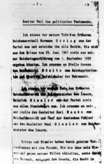 Hitler's last will and testament showing that Dönitz was chosen to succeed Hitler as Germany's president.