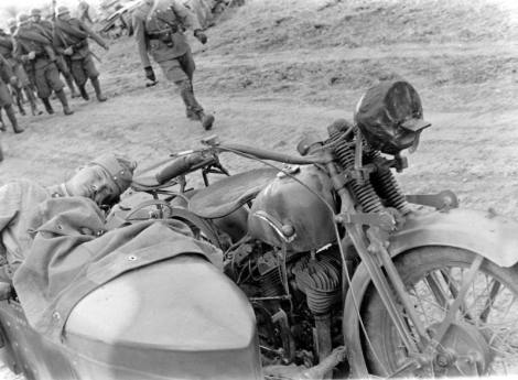 Hungarian soldiers sleeping in the sidecar CWS M111 Sokol 1000.