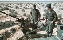Italian soldiers in North Africa manning a Breda 20mm Anti-aircraft gun and wearing pre-war wool m37 uniform. Picture taken in 1941 during Rommels drive to Egypt.