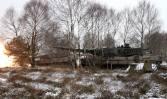 Kampfpanzer Leopard 2A6 beim Schuss.