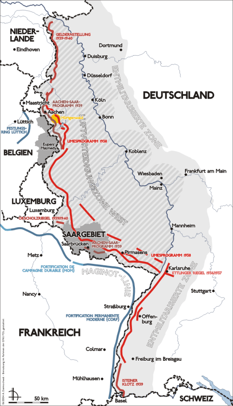 Map of the Siegfried Line.