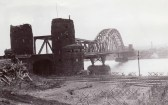 The Ludendorff Bridge at Remagen from the west bank of the Rhine after it was captured by U.S. troops.