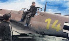 Hans-Joachim Marseille (as Oberleutnant) & his Bf 109F.