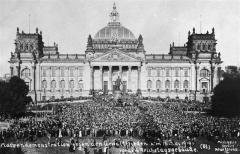 Mass demonstration in front of the Reichstag against the Treaty of Versailles.