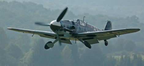 "A Hispano Aviación HA-1112 (c/n 156 C.4K-87 (D-FMBB), ""FM+BB""), a license-built Messerschmitt Bf 109 G-2. Rebuilt by the EADS/Messerschmitt Foundation, Germany with a Daimler-Benz DB 605 engine as a G-6. The paint scheme is missing the Swastika, due to German law."