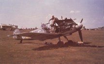 Messerschmitt Bf 109 G of JG 52 being serviced somewhere on the Eastern Front.