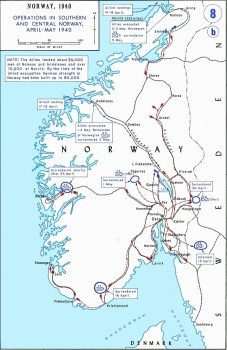 Military land operations in southern and central Norway in April and May 1940.