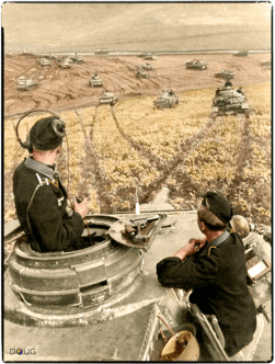 Oberleutnant d.R. Heinz Endruweit, Nachrichtenoffizier (signals officer) of Panzer Regiment 24, Pz Div. 24 in his Panzerbefehlswagen IV on the Russian Steppes in the Summer of 1942. ( THIS INFORMATION MAY BE INCORRECT, WE WILL UPDATE AT A FURTHER TIME.)