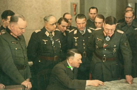 Last front visit of Adolf Hitler on 3 March 1945. Standing behind Hitler from left to right: General der Artillerie Wilhelm Berlin, Generaloberst Robert Ritter von Greim, Generalmajor Franz Reuß, General der Flakartillerie Job Odebrecht and General der Infanterie Theodor Busse.