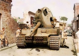Panzer VI Tiger of 2.s.Pz.Abt.504 that is obstructing Traversa Quarto, a road in Catania, Belpasso, Sicily.