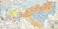 Prussia (orange) and its territories lost after the War of the Fourth Coalition (other colours).