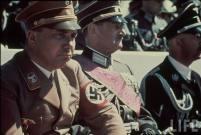 Nazi Reichsleiter Martin Bormann, SA Brigadier Gen. Franz Ritter von Epp and Reichsführer-SS Heinrich Himmler attending Reichs Veterans Day at Kassel, Germany, 4 June 1939.