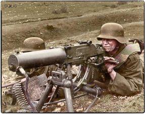 Royal Hungarian Honvéd machine gun team operating an 8mm Schwartzlose MG 07-12 on the Eastern Front c.1941.