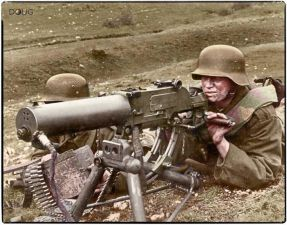 Royal Hungarian Honvéd machine gun team operating an 8mm Schwartzlose MG 07-12 on the Eastern Front c.1941.