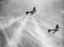 Gun camera film shows tracer ammunition from a Supermarine Spitfire Mark I of No. 609 Squadron RAF, flown by Flight Lieutenant J. H. G. McArthur, hitting a Heinkel He 111 on its starboard quarter.