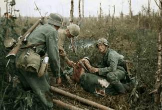 The Battle of Wolchow (Volkhov) near Lake Ladoga (Leningrad) in July 1943.
