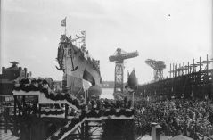 The Cruiser Cologne launched on May 23,1928 in Wilhelmshaven, Germany.